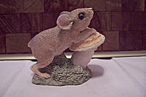 Hand Painted Porcelain Mouse On A Toadstool