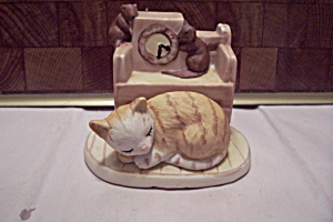Porcelain Sleeping Cat & Playing Mice Figurine