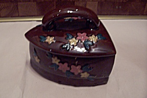 Occupied Japan Brown Porcelain Flat Iron Box