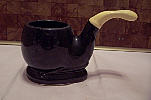 Black Pottery Tobacco Pipe Footed Cache Pot