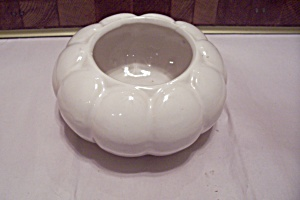 Mccoy White Pottery Pumpkin Shaped Bowl
