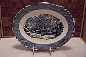 Fine China Flow Blue Style Oval Serving Platter