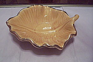 California Yellow Pottery Deep Leaf Shaped Dish