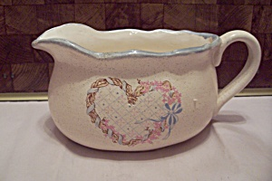Antique White Porcelain Heart Decorated Gravy Boat