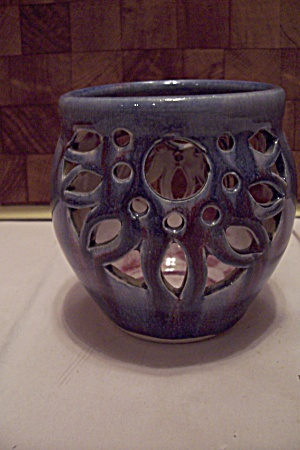 Blue & Maroon Glazed Hand Thrown Pottery Candle Holder