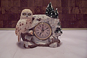Resin Owl & Forest Scene Clock