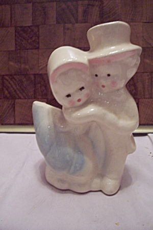 Porcelain Boy & Girl Planter/cache Pot