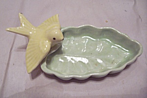 Porcelain Yellow Bird & Green Leaf Dish
