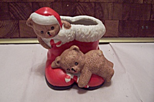 House Of Lloyd Porcelain Santa's Boots Cache Pot