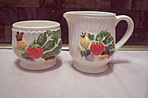 White China Vegetable Decorated Sugar & Creamer Set
