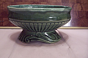 Mccoy Oval Dark Green Footed Pottery Planter