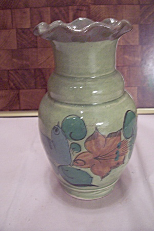 Mexican Avocado Green Bird Decorated Vase