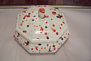 Splatter Painted Ceramic Art 8-sided Covered Bowl