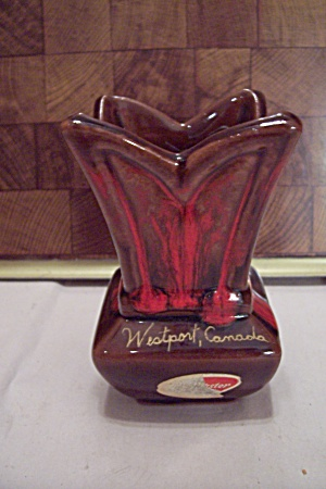 Westport, Canada Souvenir Brown & Red Pottery Vase