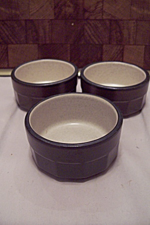 Set Of 3 Wallace China Stoneware Brown Bowls