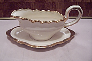 White China Gilt Trimmed Gravy Boat & Under Plate