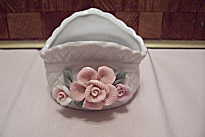White Porcelain Pink Rose Decorated Cache Pot