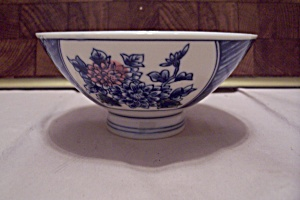 Japanese Flow Blue Flower Decorated Footed Rice Bowl