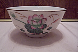 Japanese Water Lily Decorated China Footed Rice Bowl