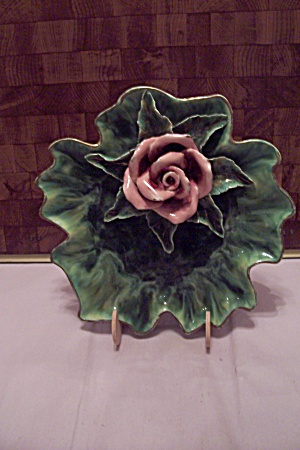 Green Pottery Leaf Shaped & Pink Rose Decorated Dish