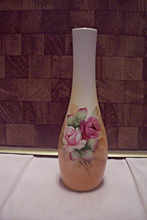 Lefton Porcelain Hand Painted Rose Decorated Bud Vase