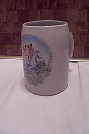 Gray Porcelain Foxhunt Decorated Beer Mug