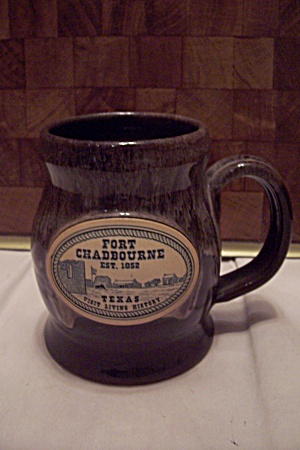 Brown Drip Souvenir Art Pottery Fort Chadbourne Mug