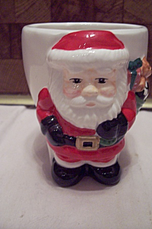 Porcelain Hand Painted Santa Claus Cache Pot