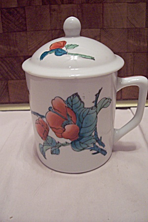 White Porcelain Orange Flower Decorated Lidded Mug