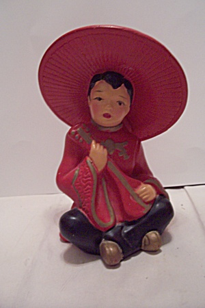 Porcelain Chinese Mandolin Male Player Figurine