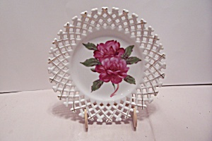 Hand Painted Porcelain Red Rose Decorated Plate