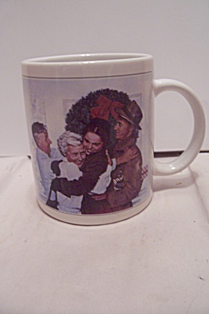Porcelain Norman Rockwell Home For Christmas Mug