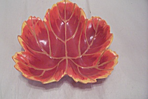 Autumn Red Leaf Shaped Hand Painted Ceramic Dish