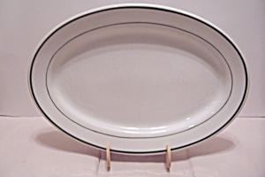 Iroquois Green Line Trimmed White China Oval Platter
