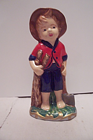Hand Painted Ceramic Art Little Boy Figurine