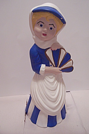 Hand Painted Ceramic Art Vintage Dressed Lady Figurine