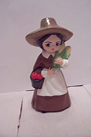 Hand Painted Ceramic Art Little Pioneer Girl Figurine