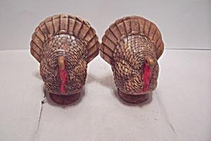Hand Painted Pair Of Ceramic Art Turkey Gobblers
