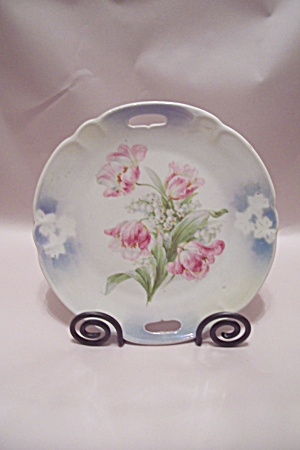 German Pink & White Flower Decorated Collector Plate
