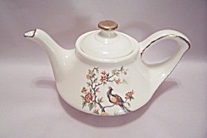 White China Bird & Flower Decorated Teapot
