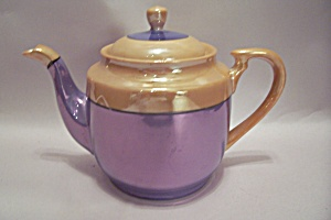 Japanese Peach & Purple Lustre Hand Painted Teapot