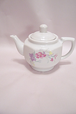Japanese White Porcelain Flower Decorated Teapot
