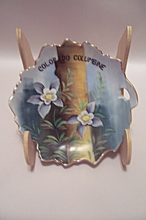 Colorado Columbine Hand Painted Collector Dish