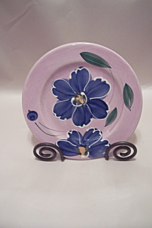 Italian Tre Ci Earthenware Blue Flower Decorated Plate