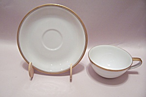 Noritake Gold Trimmed White Fine China Cup & Saucer Set