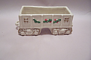 White Porcelain Railroad Car Cache Pot/planter