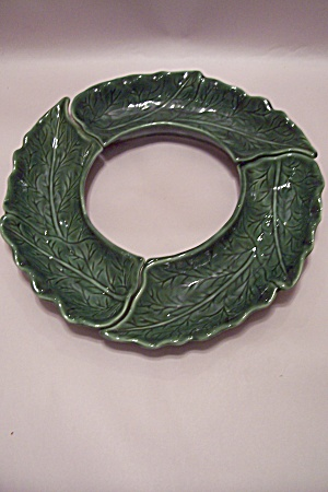 California Pottery Dark Green Leaf Motif Snack Set