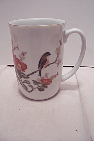 White Porcelain Songbird & Flowers Mug