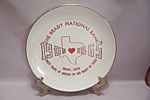 The Brady National Bank Commemorative Souvenir Plate