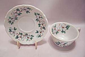 Syracuse China Flower Decorated Cup & Saucer Set